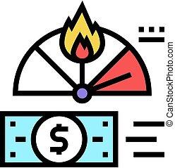 couleur, financier, illustration, icône, vecteur, inflation, crise