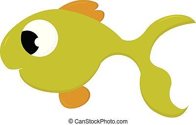 couleur, fish, illustration, vecteur, vert, petit, ou
