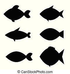 couleur, fish, vecteur, noir, icône