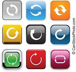 couleur, flèche, icons., carrée