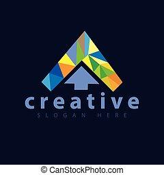 couleur flèche, vecteur, gabarit, logo, icône