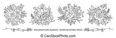 couleur, floral, pastel, vecteur, bouquet