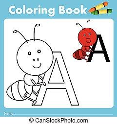 couleur, fourmi, livre, illustrateur, animal