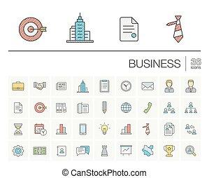 couleur, gestion, vecteur, icones affaires