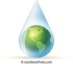 couleur, goutte, -, eau, la terre, icône