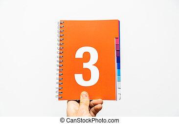 couleur, grand, nombre, ornage, main, 3, cahier, tenue, mâle