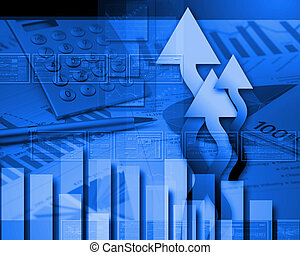 couleur, graphiques, global, financier, diagrammes
