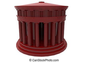 couleur, grec, ancien, temple, render