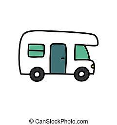 couleur, griffonnage, camping car, vecteur, icône, ...