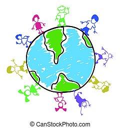 couleur, griffonnage, gosses, autour de, mondiale