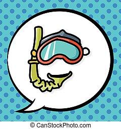 couleur, griffonnage, snorkel