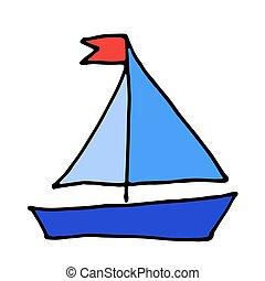 couleur, griffonnage, yacht, vecteur, dessiné, icon., bateau, bateau