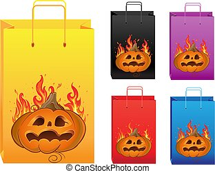 couleur, halloween, sacs provisions