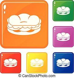couleur, hamburger, vecteur, ensemble, icônes