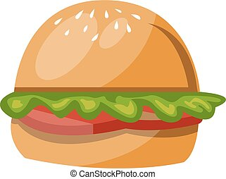 couleur, hamburger, vecteur, illustration.