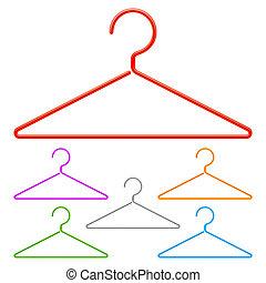 couleur, hangers.