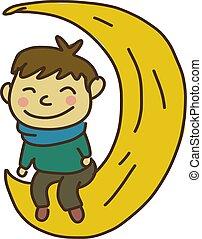 couleur heureuse, vecteur, lune, ou, illustration., séance, garçon