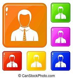 couleur, homme affaires, ensemble, icônes