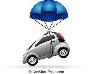 couleur, icône, -, voiture, parachute