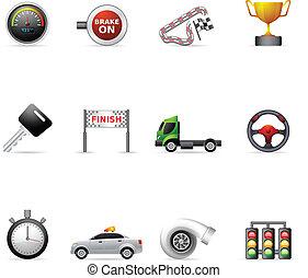 couleur, -, icônes, courses, plus