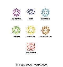 couleur, illustration, chakra, griffonnage, ensemble, vecteur, icônes