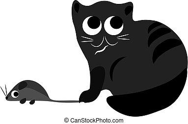 couleur, illustration, chat, vecteur, souris, ou