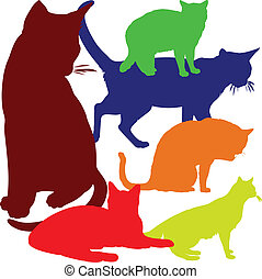 couleur, illustration, chat