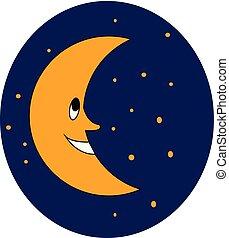 couleur, illustration, lune, vecteur, sourire, ou