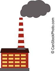 couleur, illustration, usine, vecteur, polluer, ou