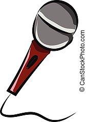 couleur, illustration, vecteur, câble, professionnel, ou, microphone