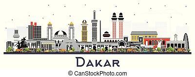 couleur isolée, sénégal, ville, white., horizon, dakar, bâtiments