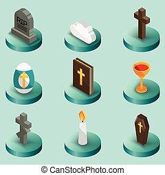 couleur, isométrique, christianisme, icônes