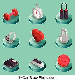 couleur, isométrique, fitness, icônes