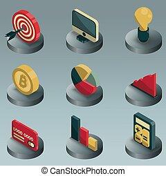 couleur, isométrique, icones affaires