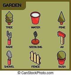 couleur, isométrique, jardin, icônes