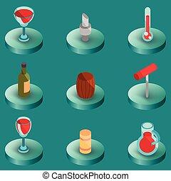 couleur, isométrique, vin, icônes