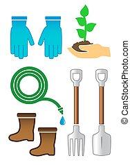 couleur, jardinage, ensemble, outils