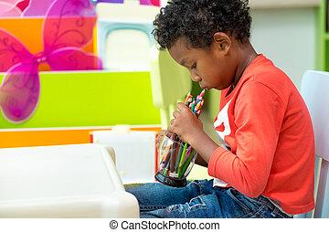 couleur, jeu, noir, jardin enfants, seul, américain, concept., classe, préscolaire, gosse, crayon, education