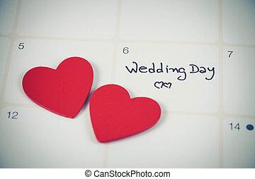couleur, jour, planification, mariage, calendrier, rappel