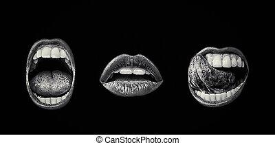 couleur, lèvres, femme, fin, girl, mouth., ouvert, haut., desire., set., isolé, arrière-plan., passion, lèvre, blanc, séduisant, sombre, bouche, tongue., haut, dents, émotif, faire, noir