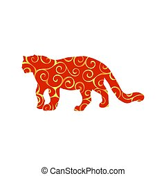 couleur, léopard, silhouette, animal, wildcat