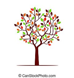 couleur, leafs., vecteur, arbre, illustration.