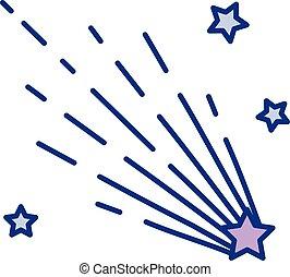 couleur, ligne, étoile filante, icône