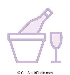 couleur, ligne, vin, mince, icône