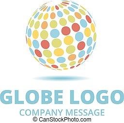 couleur, logo, multi, globe