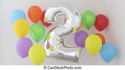 couleur, lumière, balloon, numéro deux, 2, fond