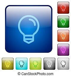 couleur, lumière, carrée, ampoule, boutons