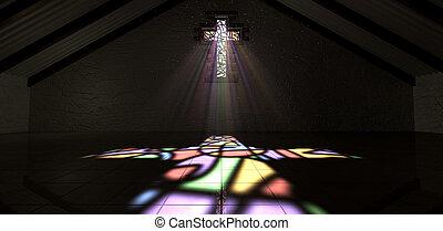 couleur, lumière, fenêtre verre souillée, crucifix, rayon