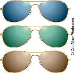 couleur, lunettes soleil, vecteur, ensemble, isolé, blanc, arrière-plan.