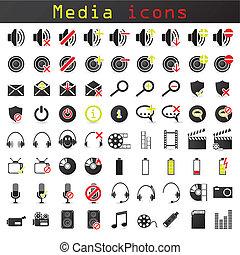 couleur, média, ensemble, noir, icône